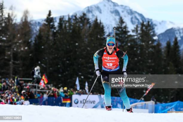 Anais Bescond of France during the IBU Biathlon World Cup Men's and Women's Pursuit on January 26 2019 in Antholz Anterselva Italy