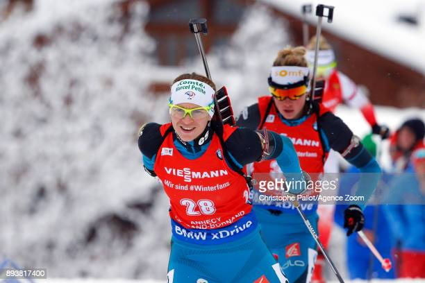 Anais Bescond of France in action during the IBU Biathlon World Cup Men's and Women's Pursuit on December 16, 2017 in Le Grand Bornand, France.
