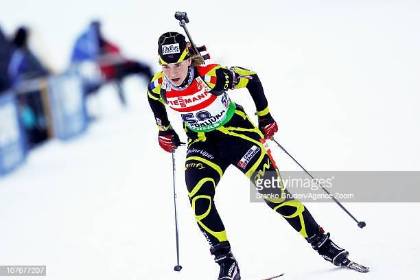 Anais Bescond of France in action during the IBU World Cup Biathlon Women's 7.5 km Sprint on December 18, 2010 in Pokljuka, Slovenia.