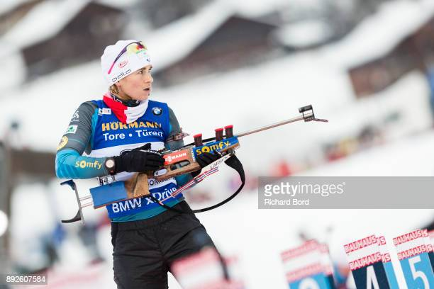 Anais Bescond of France shoots during the IBU Biathlon World Cup Women's Sprint on December 14, 2017 in Le Grand Bornand, France.