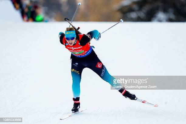 Anais Bescond of France takes 1st place during the IBU Biathlon World Cup Women's Relay on January 19, 2019 in Ruhpolding, Germany.