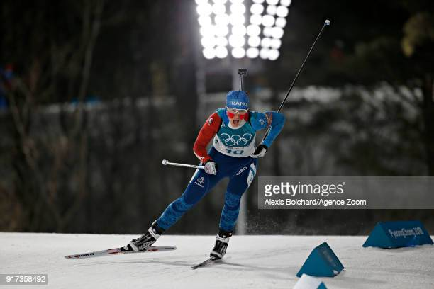 Anais Bescond of France wins the bronze medal during the Biathlon Men's and Women's Pursuit at Alpensia Biathlon Centre on February 12, 2018 in...