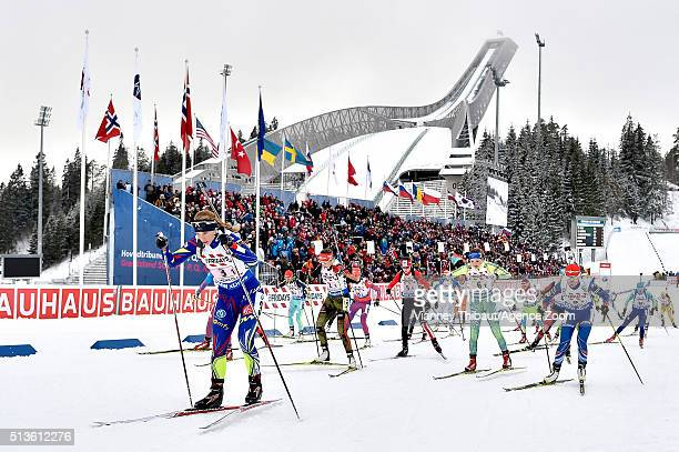 Anais Bescond of France wins the gold medal Franziska Preuss of Germany wins the silver medal Marte Olsbu of Norway wins the bronze medal during the...