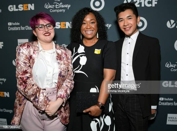 Anais Canepa Shonda Rhimes and Darid Prom attend the GLSEN Respect Awards at the Beverly Wilshire Four Seasons Hotel on October 19 2018 in Beverly...