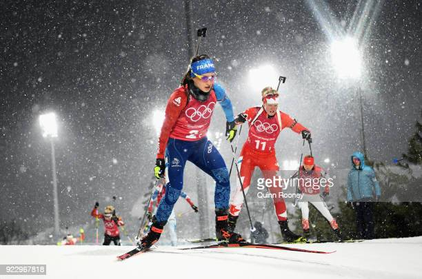 Anais Chevalier of France and Sarah Beaudry of Canada compete during the Women's 4x6km Relay on day 13 of the PyeongChang 2018 Winter Olympic Games...