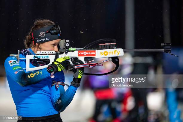 Anais Chevalier of France at the shooting range during the BMW IBU World Cup Biathlon Men's and Women's Training Session on November 26, 2020 in...