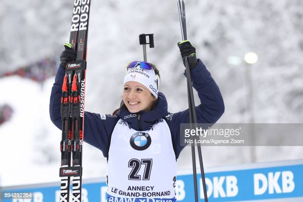 Anais Chevalier of France celebrates during the IBU Biathlon World Cup Men's and Women's Mass Start on December 17, 2017 in Le Grand Bornand, France.