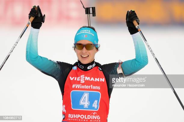 Anais Chevalier of France celebrates victory after winning the Women 4x6 km Relay during the IBU Biathlon World Cup at Chiemgau Arena on January 19,...