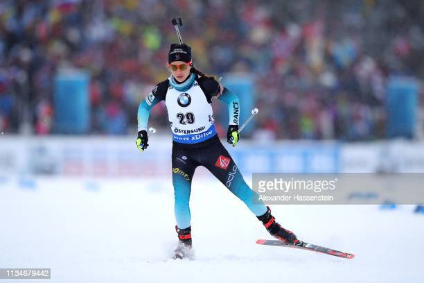 Anais Chevalier of France competes at the IBU Biathlon World Championships Women 7.5km Sprint at Swedish National Biathlon Arena on March 08, 2019 in...