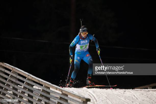 Anais Chevalier of France competes during the Women 4x6 km Relay Competition at the BMW IBU World Cup Biathlon Kontiolahti at on December 5, 2020 in...