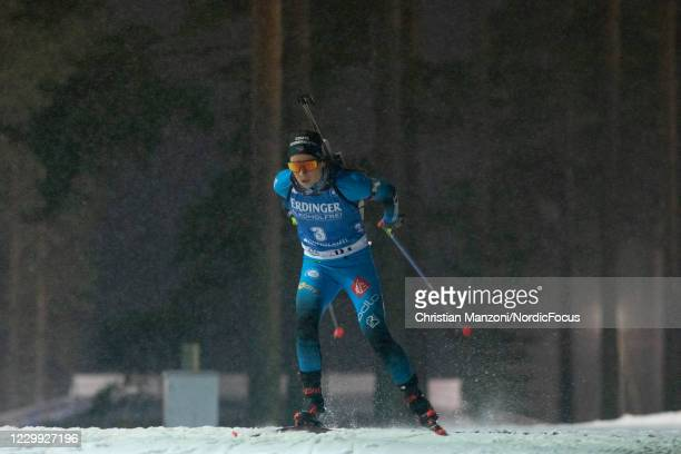 Anais Chevalier of France competes during the Women 7.5 km Sprint Competition at the BMW IBU World Cup Biathlon Kontiolahti on December 3, 2020 in...