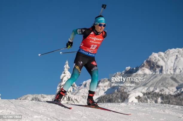 Anais Chevalier of France competes in the IBU Biathlon World Cup Women's 7.5 km Sprint on December 13, 2018 in Hochfilzen, Austria.