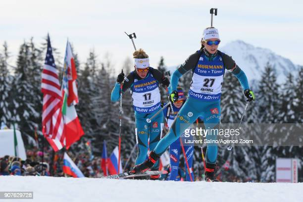 Anais Chevalier of France competes, Marie Dorin Habert of France competes during the IBU Biathlon World Cup Men's and Women's Pursuit on January 20,...
