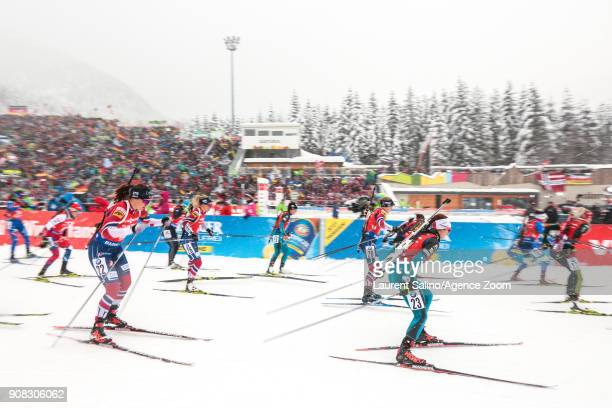 Anais Chevalier of France competes Synnoeve Solemdal of Norway competes Tiril Eckhoff of Norway competes Marte Olsbu of Norway during the IBU...