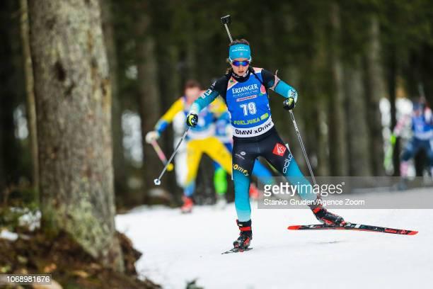 Anais Chevalier of France in action during the IBU Biathlon World Cup Women's 15km on December 6, 2018 in Pokljuka, Slovenia.