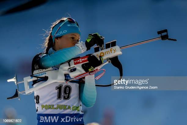 Anais Chevalier of France in action during the IBU Biathlon World Cup Women's Sprint on December 8, 2018 in Pokljuka, Slovenia.