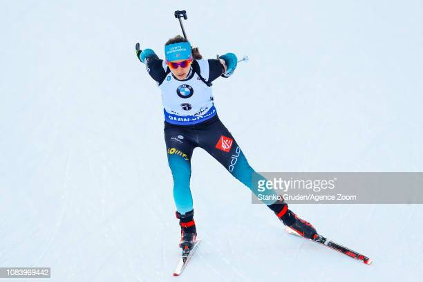 Anais Chevalier of France in action during the IBU Biathlon World Cup Women's Sprint on January 17, 2019 in Ruhpolding, Germany.
