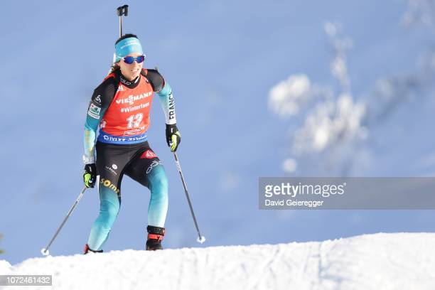 Anais Chevalier of France in action during the women´s 7.5 km sprint competition at Biathlon Stadium Hochfilzen on December 13, 2018 in Hochfilzen,...