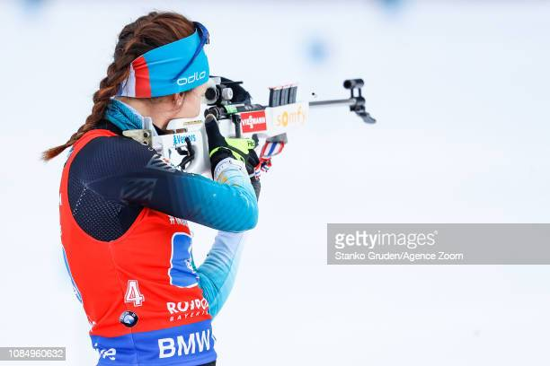 Anais Chevalier of France takes 1st place during the IBU Biathlon World Cup Women's Relay on January 19, 2019 in Ruhpolding, Germany.