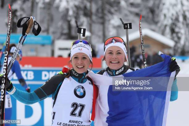 Anais Chevalier of France takes 1st place, Justine Braisaz of France celebrates during the IBU Biathlon World Cup Men's and Women's Mass Start on...