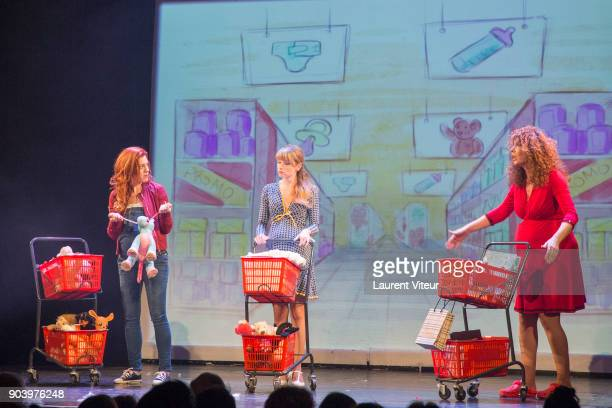 Anais Delva Cecilia Cara and Marion Posta perform during 'Enooormes' Paris Premiere at Theater Trevise on January 12 2018 in Paris France