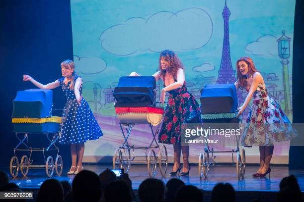 Anais Delva Marion Posta and Cecilia Cara perform during 'Enooormes' Paris Premiere at Theater Trevise on January 12 2018 in Paris France