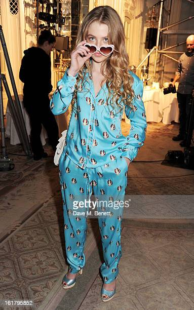 Anais Gallagehr attends the Moschino cheapchic show during London Fashion Week Fall/Winter 2013/14 at The Savoy Hotel on February 16 2013 in London...