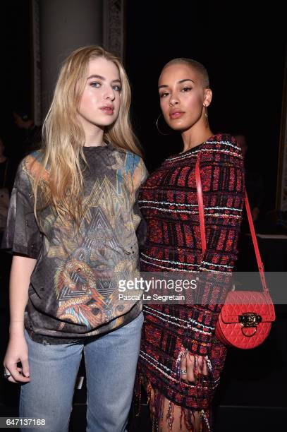 Anais Gallagher and Jorja Smith attend the Balmain show as part of the Paris Fashion Week Womenswear Fall/Winter 2017/2018 on March 2 2017 in Paris...