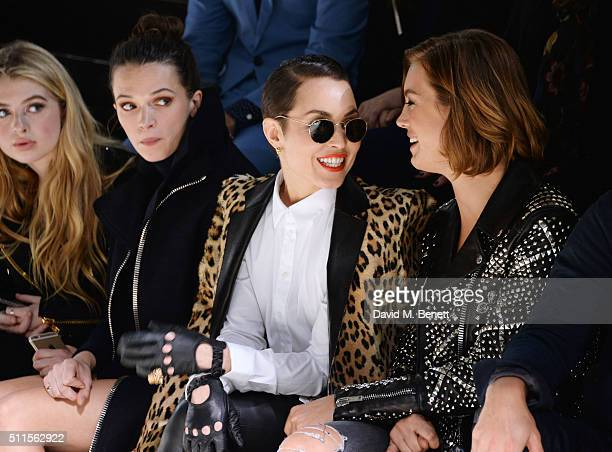 Anais Gallagher Anna Brewster Noomi Rapace and Ellinor Olovsdotter sit in the front row at the Mulberry LFW Autumn/Winter 2016 Show at The Guildhall...