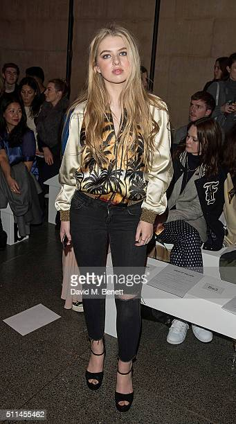 Anais Gallagher attends the House of Holland show during London Fashion Week Autumn/Winter 2016/17 at TopShop Show Space on February 20 2016 in...