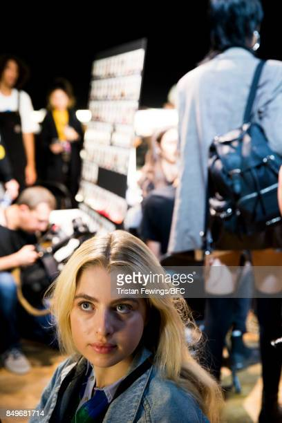 Anais Gallagher backstage ahead of the Tommy Hilfiger show during London Fashion Week September 2017 on September 19 2017 in London England