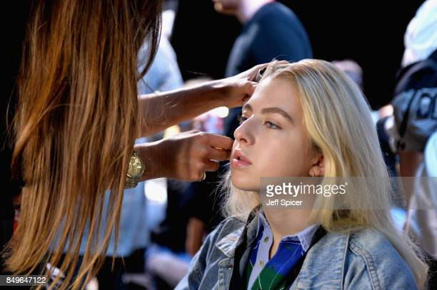 Anais Gallagher backstage ahead of the Tommy Hilfiger TOMMYNOW Fall 2017 Show during London Fashion Week September 2017 at the Roundhouse on...