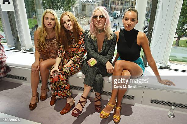 Anais Gallagher Ellie Bamber Harriet Verney and Phoebe CollingsJames attend the Topshop Unique show during London Fashion Week SS16 at The Queen...