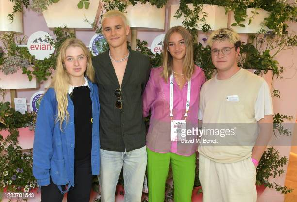Anais Gallagher, Romeo Beckham, Mia Regan and Reid Raymond Anderson pose in evian's VIP suite, certified as carbon neutral by The Carbon Trust,...