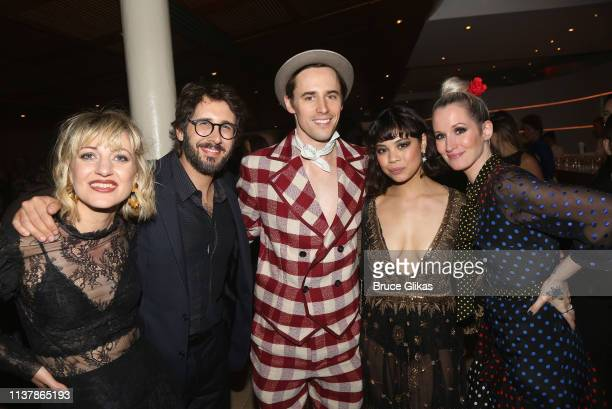 Anais Mitchell Josh Groban Reeve Carney Eva Noblezada and Ingrid Michaelson pose at the opening night after party for the new musical Hadestown on...