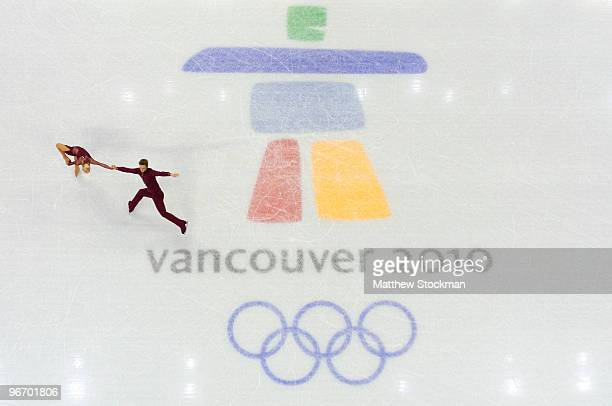 Anais Morand and Antoine Dorsaz of Switzerland compete in the figure skating pairs short program on day 3 of the Vancouver 2010 Winter Olympics at...