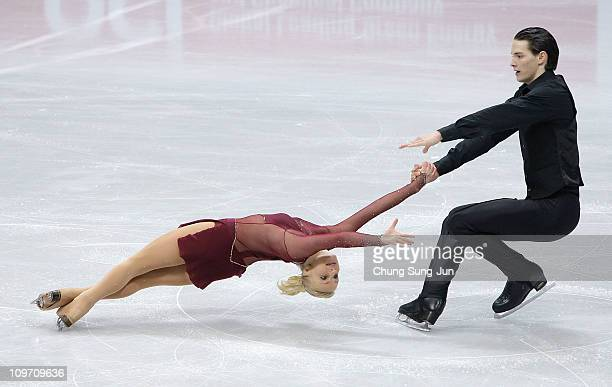 Anais Morand and Timothy Leemann of Switzerland compete in the Pair Short on day three of the 2011 World Junior Figure Skating Championships at...