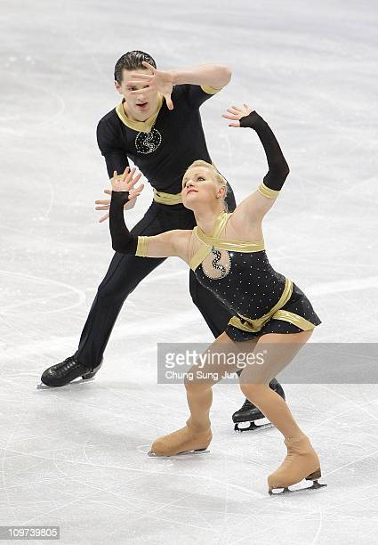 Anais Morand and Timothy Leemann of Switzerland compete in the Pairs Free on day four of the 2011 World Junior Figure Skating Championships at...