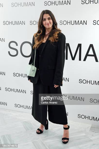 Anaju attends the 'Relieve' fashion show photocall at the White Lab Gallery on February 17, 2021 in Madrid, Spain.