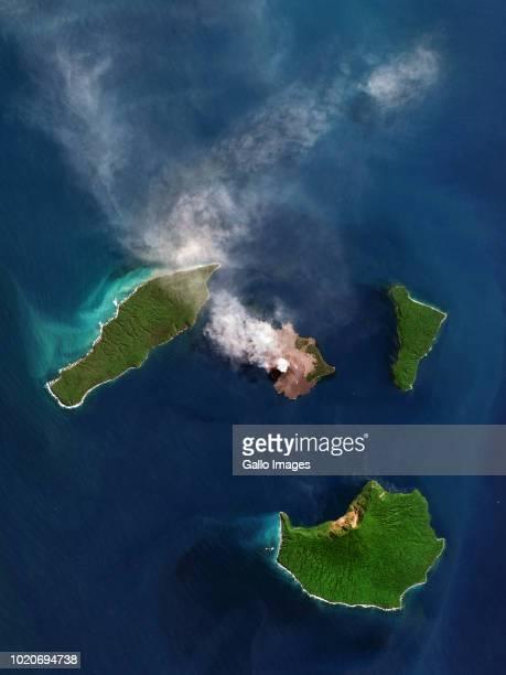 Anak Krakatau volcano during an eruption The volcano is located on an island in the Sunda Strait between Java and Sumatra
