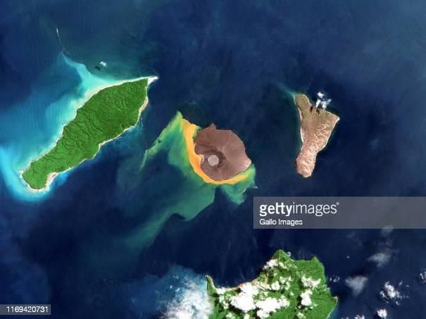 Anak Krakatau volcano in the Sunda Strait postDecember 2018 eruption a large portion on the southern flank of the volcano slid off into the ocean