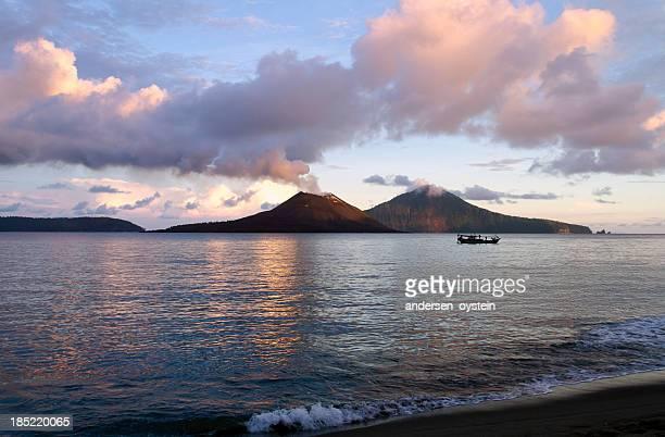 Anak Krakatau Volcano seen from beach