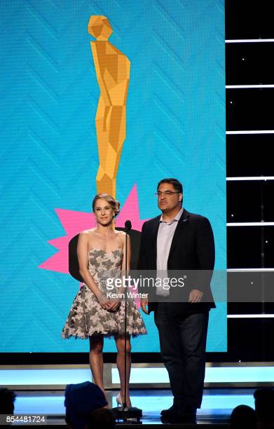 Ana Kasparian and Cenk Uygur onstage during the 2017 Streamy Awards at The Beverly Hilton Hotel on September 26 2017 in Beverly Hills California