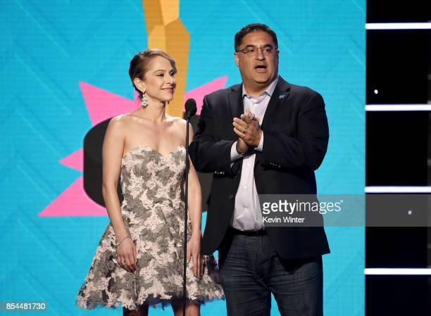 AnaKasparian and CenkUygur onstage during the 2017 Streamy Awards at The Beverly Hilton Hotel on September 26 2017 in Beverly Hills California