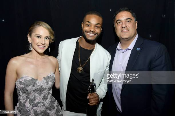 Ana Kasparian King Bach and Cenk Uygur at the 2017 Streamy Awards at The Beverly Hilton Hotel on September 26 2017 in Beverly Hills California