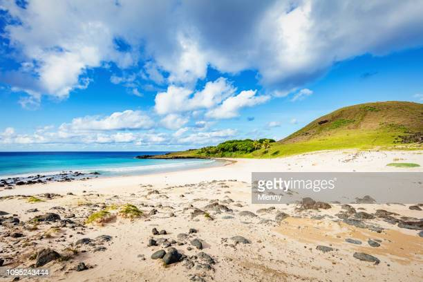 anakena beach rapa nui easter island - easter beach stock pictures, royalty-free photos & images