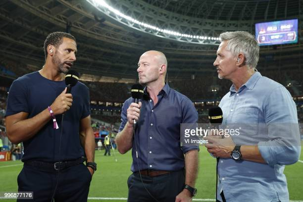 analist Rio Ferdinand analist Alan Shearer interviewer Gary Lineker during the 2018 FIFA World Cup Russia Semi Final match between Croatia and...