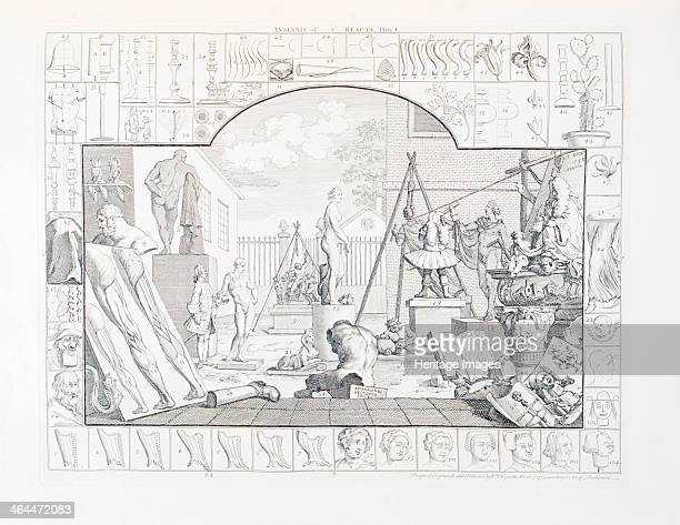 'Analysis of Beauty Plate I' 1753 In the centre is the Medici Venus to the left the Apollo Belvedere Laocoön struggling with snakes behind Venus...
