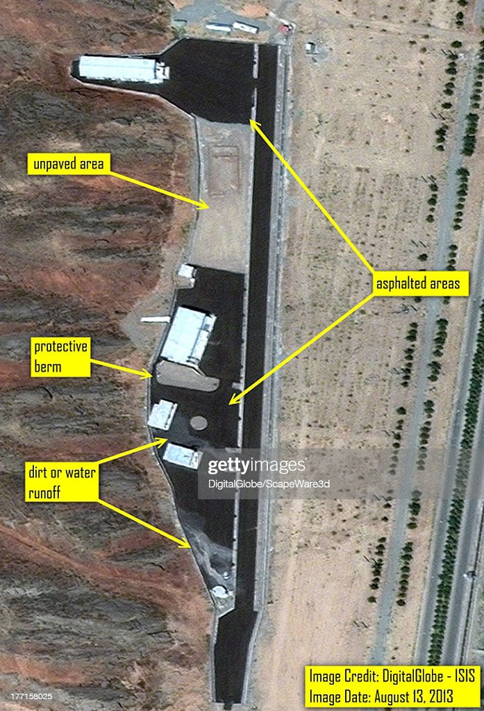 ISIS analysis of DigitalGlobe imagery from August 13, 2013 showing extensive asphalting of the Parchin site in Iran suspected to be the location of high explosive tests related to nuclear weapons development.