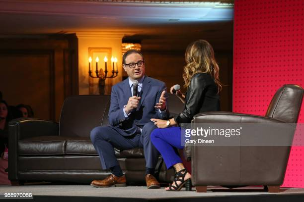 Analyst Adrian Wojnarowski talks on stage during the NBA Draft Lottery on May 15 2018 at The Palmer House Hilton in Chicago Illinois NOTE TO USER...